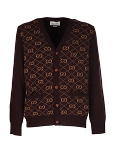 Gucci - GG jacquard pattern cardigan in brown and beige