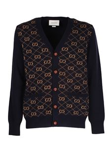 Gucci - GG jacquard pattern cardigan in blue and beige