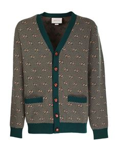 Gucci - GG wool and cashmere cardigan in camel and green