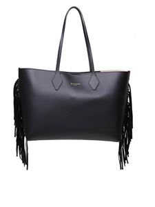 Balmain - Shopping bag in black leather with fringed detail
