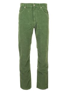Gucci - Washed-effect velvet pants in green