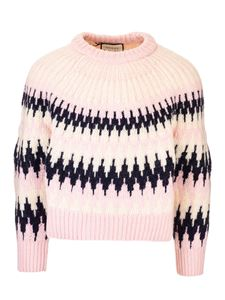 Gucci - Sweater with zig zag pattern in pink ivory and black
