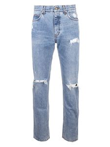 Gucci - Eco bleached organic jeans with rips in light blue