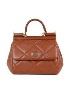 Dolce & Gabbana - Small Sicily matellase bag in Cognac