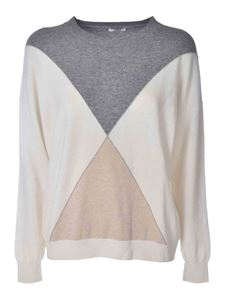 Peserico - Color block pullover in ivory grey and beige