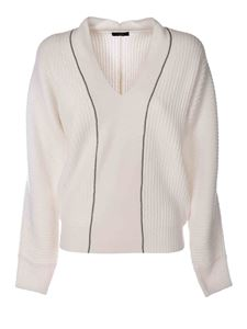 Peserico - V-neck pullover in white featuring lamé