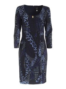Class Roberto Cavalli - Feather print dress in blue and black