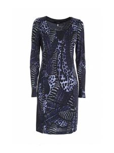 Class Roberto Cavalli - Feathers print dress in black and blue