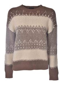 Peserico - Knitted pullover in beige and brown
