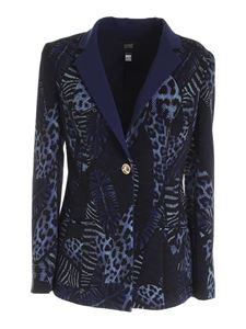 Class Roberto Cavalli - Feather print jacket in shades of blue