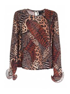 Class Roberto Cavalli - Feather print blouse in shades of beige