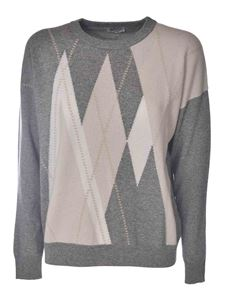 Peserico - Diamond pattern pullover in grey and pink