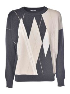 Peserico - Diamond pattern pullover in dark grey and pink