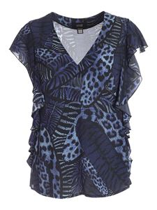 Class Roberto Cavalli - Feather print blouse in blue and black