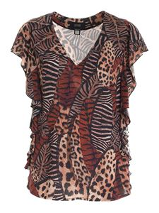 Class Roberto Cavalli - Feather print blouse in beige and brown