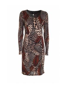 Class Roberto Cavalli - Feathers print dress in black beige and brown