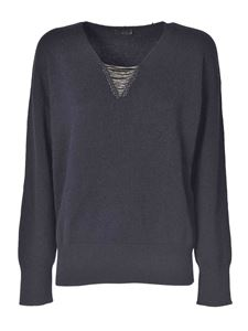 Peserico - Pullover with jewel neckline in grey