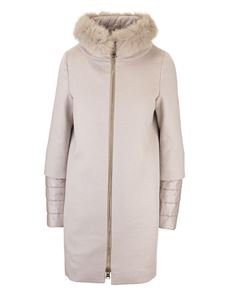 Herno -  Cappotto con pelliccia color chantilly