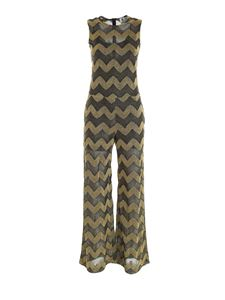 M Missoni - Chevron pattern palazzo jumpsuit in black and gold