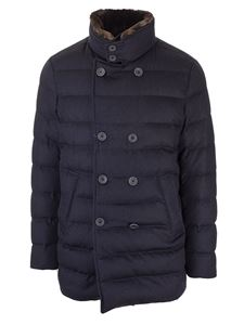 Herno - Down jacket with fur in navy blue