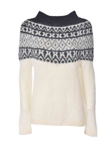 Blumarine - Pullover in ivory color featuring grey intarsia