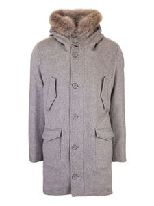 Herno - Cashmere coat with fur in grey