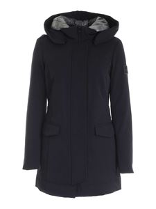Dekker - Silver collar down jacket in blue