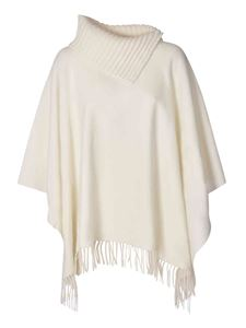 Fabiana Filippi - Poncho with fringes in ivory color