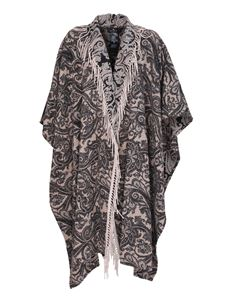 Etro - Patterned cape in cashmere in brown