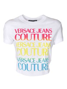 Versace Jeans Couture - Pink yellow and blue logo print t-shirt in white