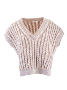 Chloé - Woven wool knit t-shirt in Sandy Beige