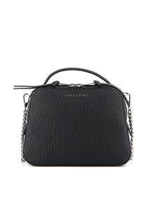 Orciani - Soft hammered leather cross body bag in black