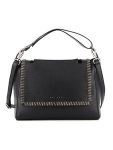 Orciani - Sveva Chain M hammered leather bag in black