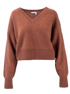 Chloé - V-neck cashmere sweater in burnt earth color