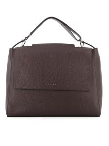 Orciani - Sveva large pebbled leather bag in brown