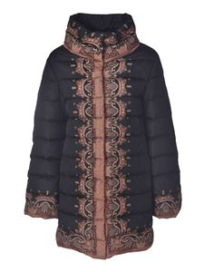Etro - Down jacket in black with contrasting print