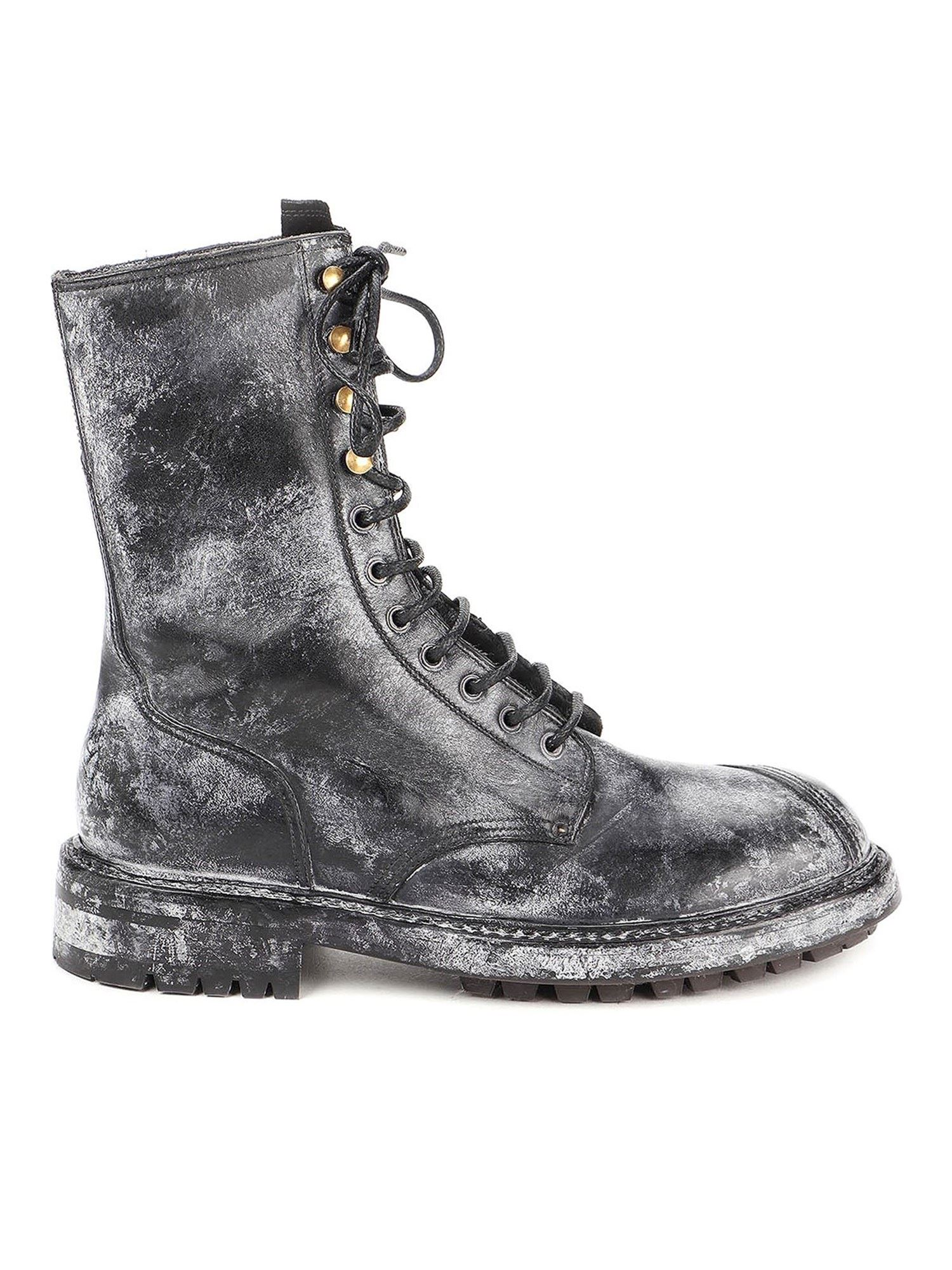 Dolce & Gabbana Leathers BERNINI VINTAGE-LOOK ANKLE BOOTS IN BLACK