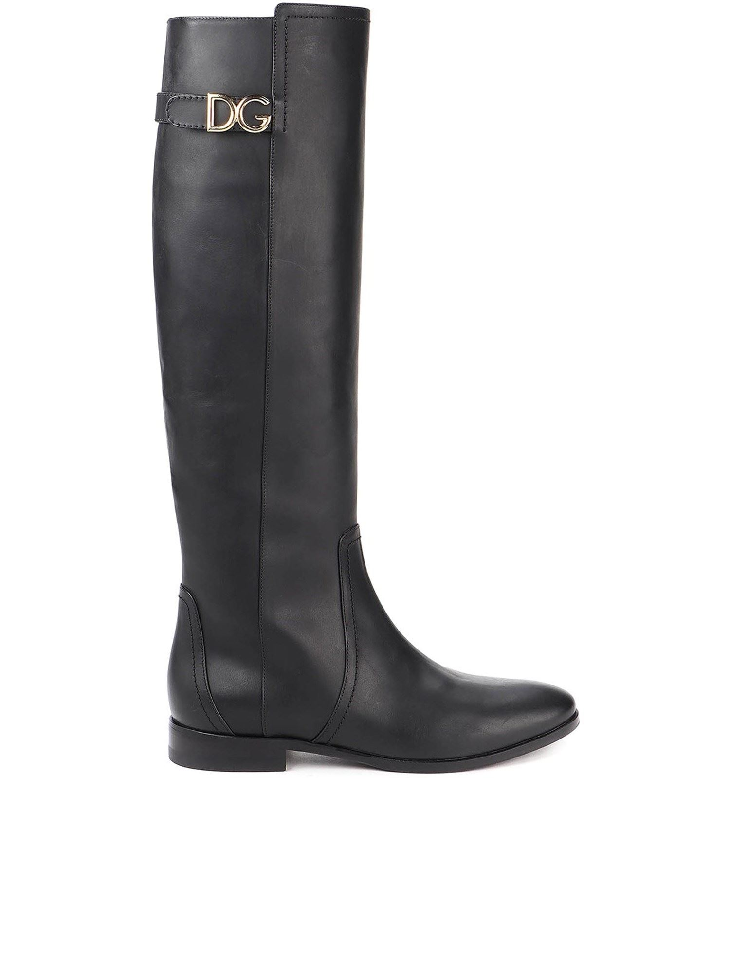 Dolce & Gabbana Leathers DG LOGO COW LEATHER BOOTS IN BLACK