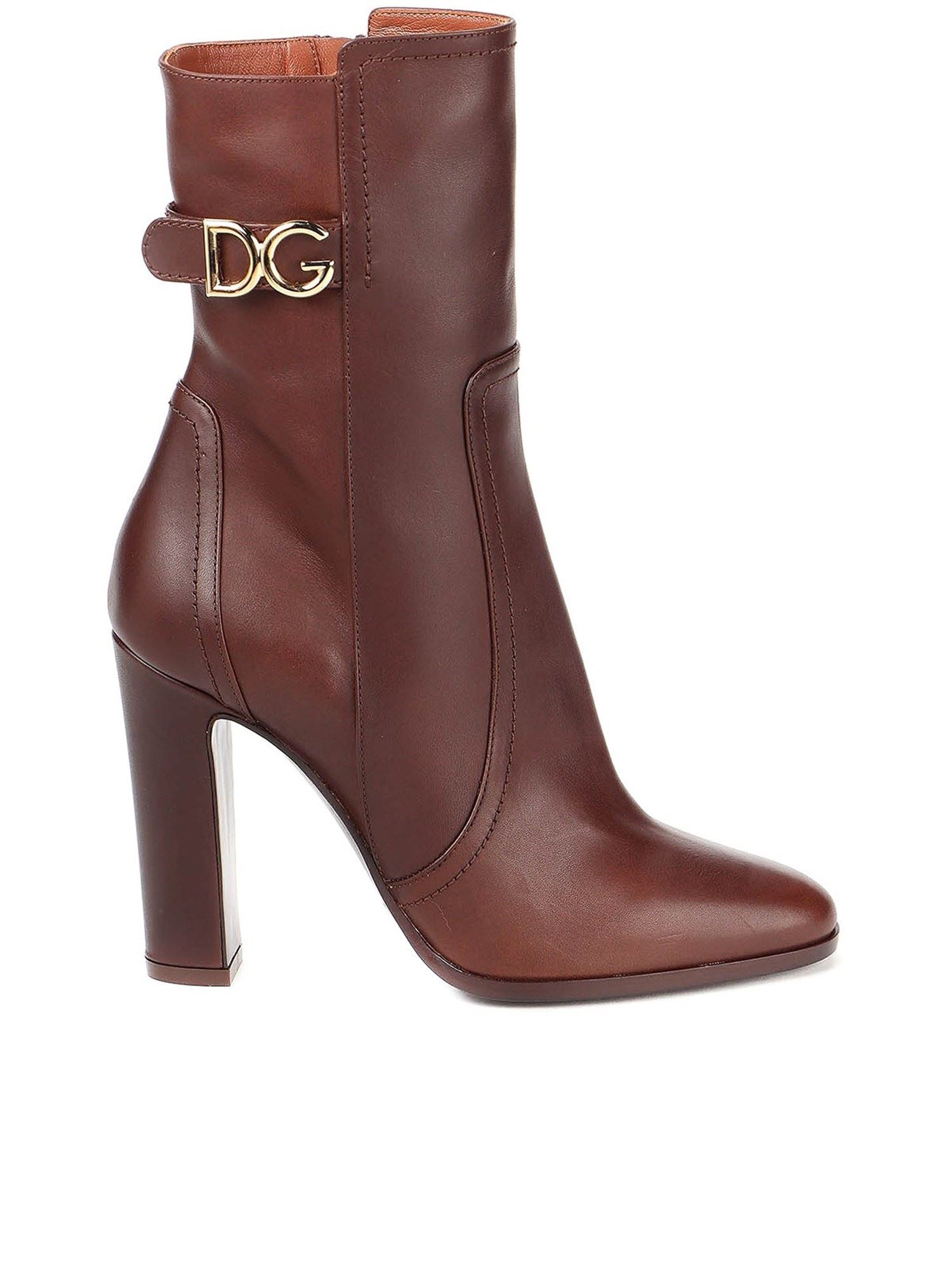 DOLCE & GABBANA DG LOGO ANKLE BOOTS IN BROWN