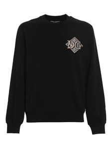 Dolce & Gabbana - Logo patch cotton sweatshirt in black