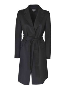 Theory - Coat featuring belt in black