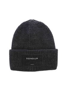 Dondup - Logo label ribbed beanie in grey