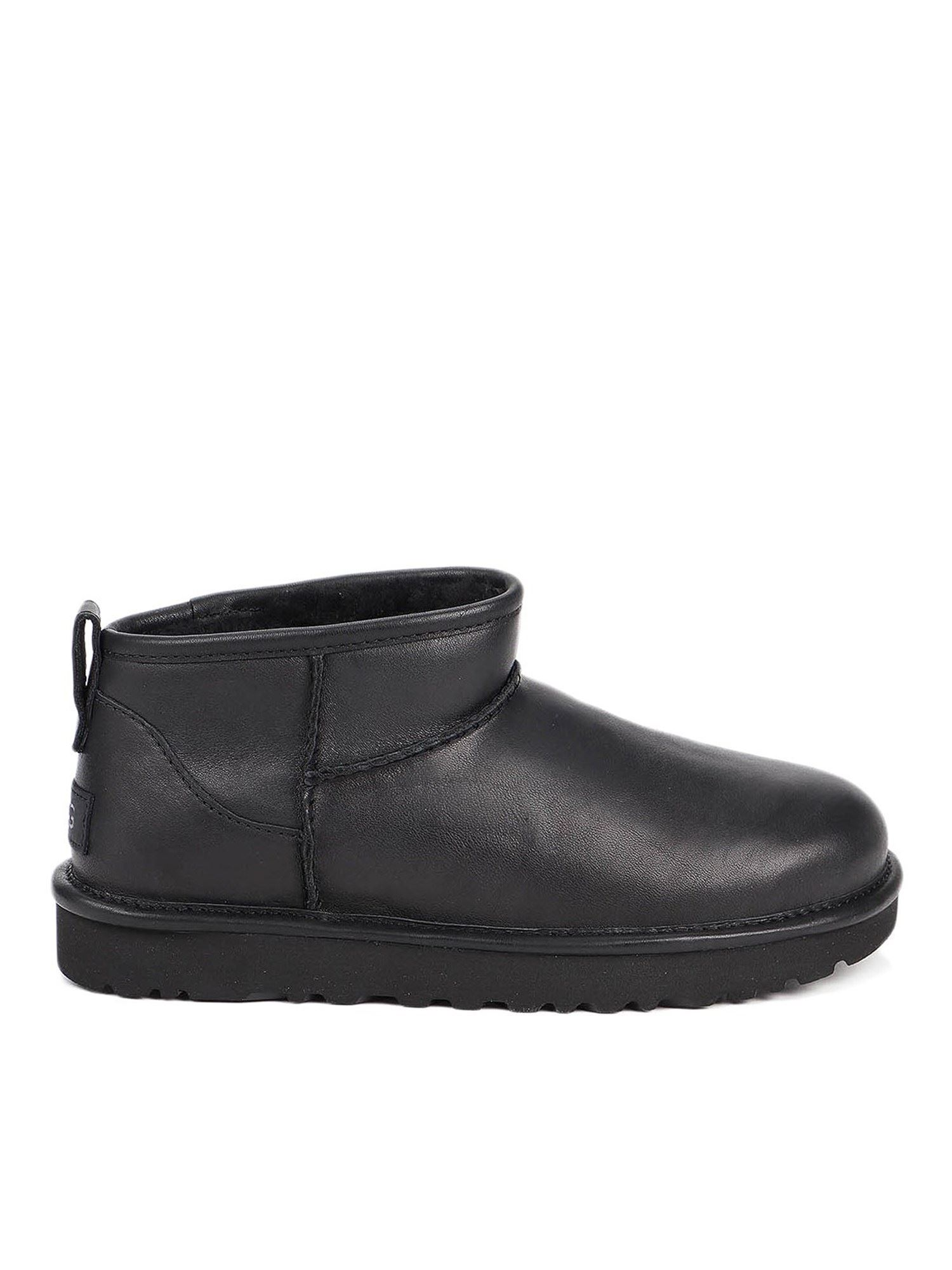 Ugg Leathers UGG CLASSIC ULTRA MINI ANKLE BOOTS IN BLACK