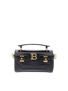 Balmain - Crocodile print shoulder bag in black