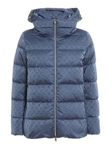 Herno - Monogram patterned puffer jacket in light blue