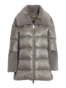 Herno - Faux leather detailed puffer jacket in grey