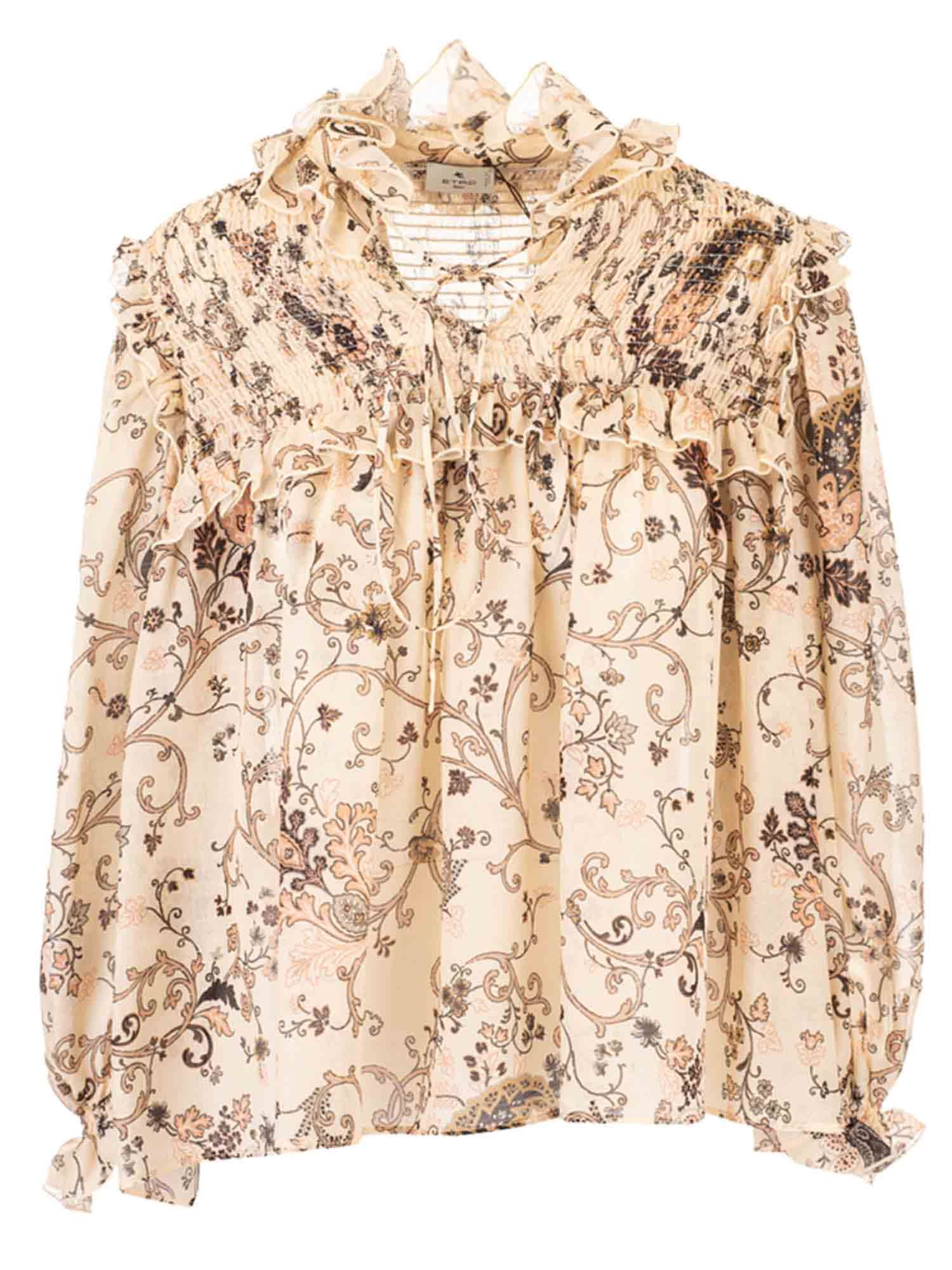 Etro Floral Blouse In Cream Color