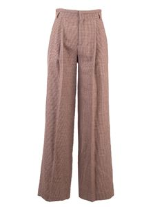 Chloé - Houndstooth flare pants in beige and brown