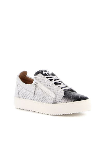 Giuseppe Zanotti - May London scales effect leather sneakers in white