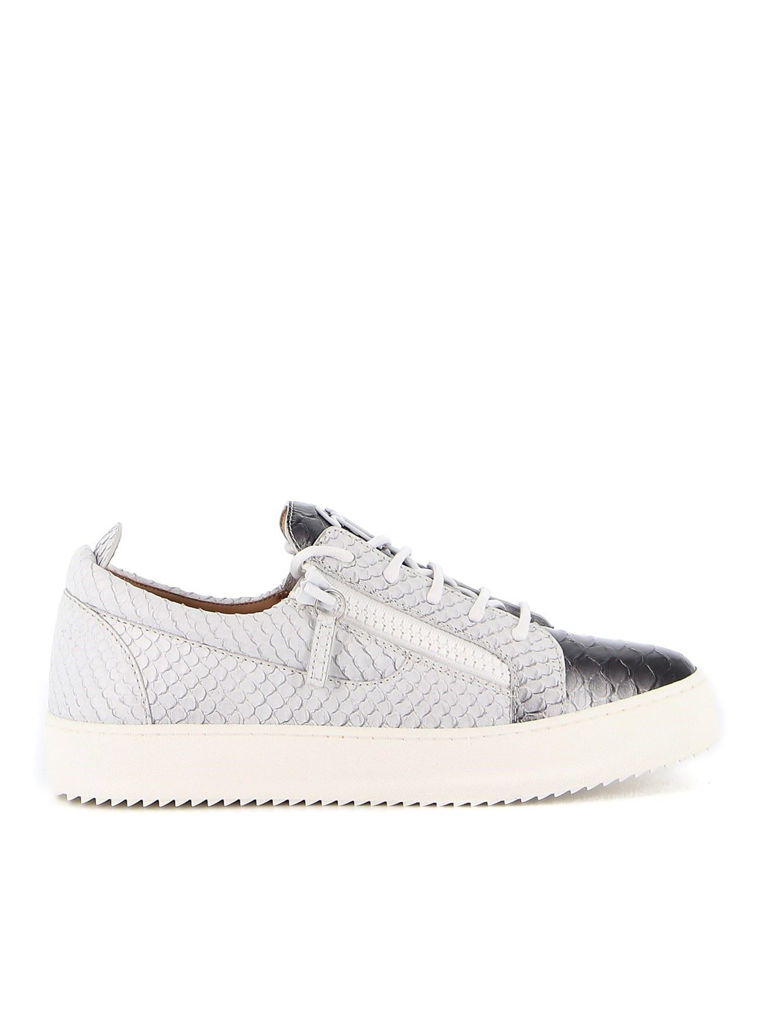 Giuseppe Zanotti Leathers GIUSEPPE ZANOTTI MAY LONDON SCALES EFFECT LEATHER SNEAKERS IN WHITE